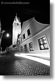 black and white, czech republic, europe, nite, slow exposure, telc, towers, vertical, photograph