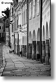 black and white, czech republic, europe, sidewalks, telc, vertical, photograph
