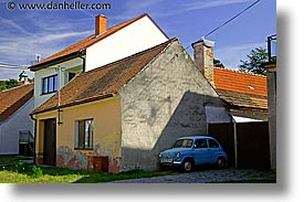 blues, cars, czech republic, europe, horizontal, houses, valtice, yellow, photograph