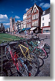 bicycles, cambridge, england, english, europe, streets, united kingdom, vertical, photograph