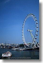cities, england, english, europe, ferris, ferris wheel, london, united kingdom, vertical, wheels, photograph