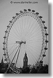 bens, big, black and white, cities, england, english, europe, ferris, ferris wheel, london, united kingdom, vertical, wheels, photograph