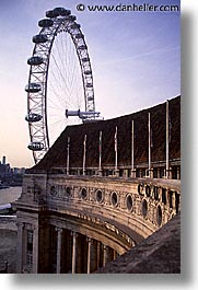 cities, countyhall, england, english, europe, ferris, ferris wheel, london, united kingdom, vertical, wheels, photograph