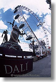 cities, dali, england, english, europe, ferris, ferris wheel, london, united kingdom, vertical, wheels, photograph