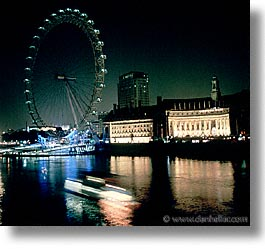 cities, england, english, europe, ferris, ferris wheel, london, nite, square format, united kingdom, wheels, photograph
