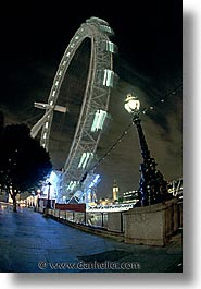 cities, england, english, europe, ferris, ferris wheel, london, nite, united kingdom, vertical, wheels, photograph