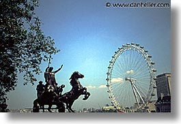 cities, england, english, europe, ferris, ferris wheel, horizontal, london, statues, united kingdom, wheels, photograph