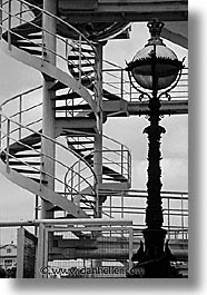 black and white, cities, england, english, europe, ferris wheel, lamps, london, spiral, stairs, united kingdom, vertical, photograph
