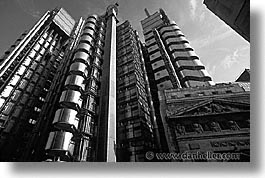 black and white, cities, days, england, english, europe, horizontal, lloyds, london, united kingdom, photograph