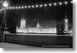 black and white, cities, england, english, europe, horizontal, london, nite, parliament, united kingdom, photograph