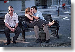 benches, cities, england, english, europe, horizontal, kissers, london, park, people, united kingdom, photograph