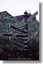 cities, directional, england, english, europe, london, signs, streets, united kingdom, vertical, photograph