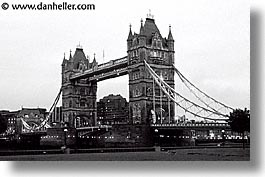 black and white, bridge, cities, england, english, europe, horizontal, london, tower bridge, towers, united kingdom, photograph