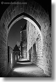 alleys, black and white, carcassonne, castles, cobblestones, europe, france, nite, vertical, photograph