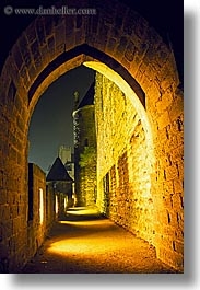 arches, carcassonne, castles, cobblestones, europe, france, vertical, photograph