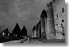 black and white, carcassonne, castles, europe, france, grounds, horizontal, jousting, lower, photograph