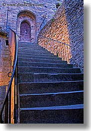 carcassonne, castles, europe, france, morning, stairs, vertical, photograph