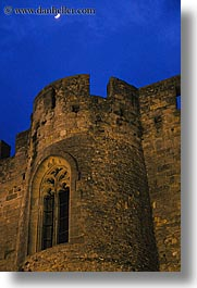 carcassonne, castles, europe, france, moon, nite, vertical, photograph