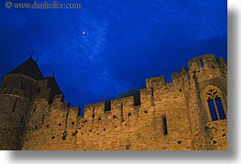 carcassonne, castles, europe, france, horizontal, moon, nite, photograph