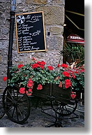 carcassonne, carts, europe, flowers, france, pizza, signs, vertical, photograph
