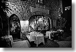black and white, carcassonne, europe, france, horizontal, pizzaria, pizzeria, restaurants, photograph