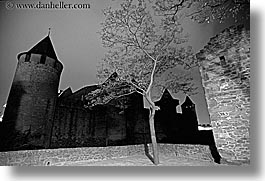 black and white, carcassonne, castles, europe, france, horizontal, photograph