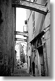 alleys, black and white, bonifacio, braces, corsica, europe, france, towns, vertical, photograph