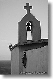bells, black and white, bonifacio, corsica, crosses, europe, france, towns, vertical, photograph