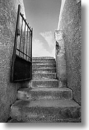 black and white, bonifacio, corsica, europe, france, gates, stairs, towns, vertical, photograph