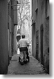 black and white, bonifacio, corsica, europe, france, streets, sweepers, towns, vertical, photograph