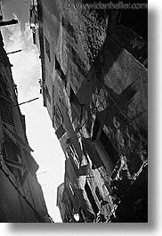 alleys, black and white, bonifacio, corsica, europe, france, tilted, towns, vertical, photograph