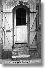 black and white, bonifacio, corsica, doors, europe, france, shutters, vertical, windows, photograph
