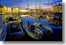 boats, dusk, europe, france, harbor, horizontal, ile de re, nite, water, photograph