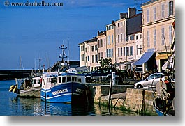 boats, europe, france, horizontal, houses, ile de re, water, photograph