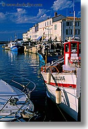boats, europe, france, houses, ile de re, vertical, water, photograph