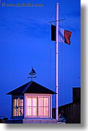 europe, flags, france, french, houses, ile de re, illuminated, vertical, photograph