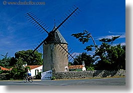 bicycles, europe, france, horizontal, ile de re, jills, windmills, photograph