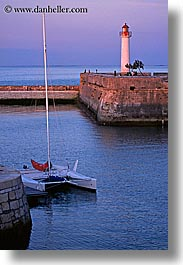boats, europe, france, ile de re, lighthouses, sunsets, vertical, water, photograph