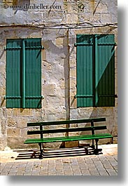 benches, europe, france, ile de re, vertical, windows, photograph