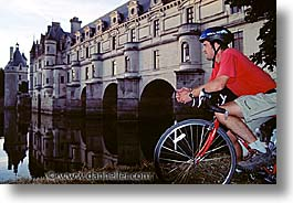 bikers, bridge, castles, europe, france, horizontal, loire valley, photograph