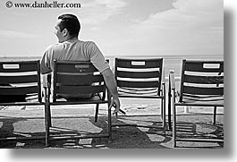 black and white, chairs, cigars, europe, france, horizontal, men, nice, seas, watching, photograph