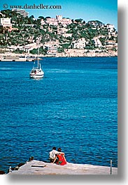 boats, couples, europe, france, nice, ocean, vertical, watching, photograph