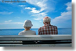 couples, europe, france, horizontal, nice, ocean, seas, watching, photograph