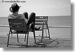 black and white, chairs, cowboys, europe, france, horizontal, nice, ocean, seas, watching, photograph