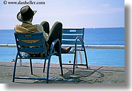 chairs, cowboys, europe, france, horizontal, nice, ocean, seas, watching, photograph