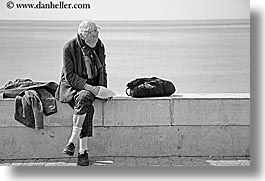 black and white, europe, france, grumpy, horizontal, men, nice, ocean, old, photograph