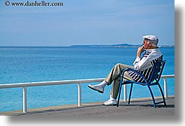 chairs, europe, france, horizontal, men, nice, ocean, seas, watching, photograph