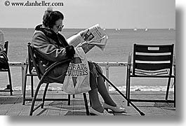 black and white, chairs, europe, france, horizontal, newspaper, nice, ocean, old, womens, photograph