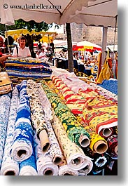 europe, fabrics, france, nice, rolled, vertical, photograph