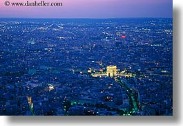 aerials, arc de triomphe, dusk, europe, france, glow, horizontal, lights, paris, perspective, photograph